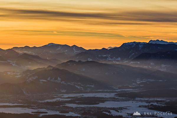 Sun rays spilling across the hills