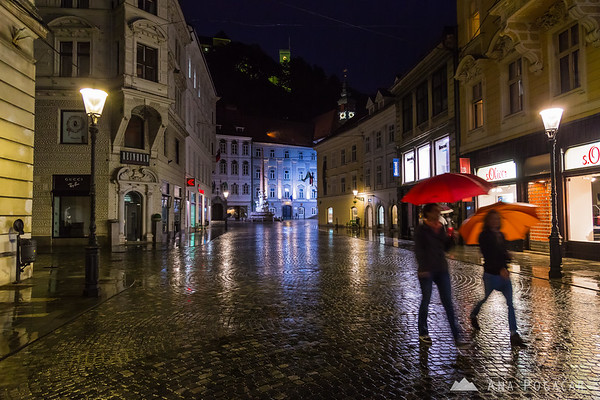 Ljubljana at night in rain