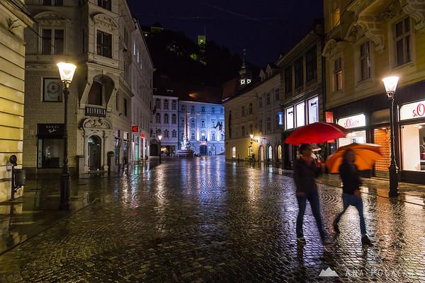 Ljubljana at night in rain