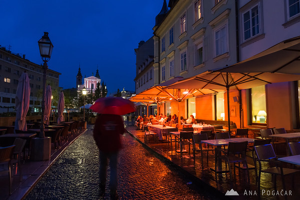 Ljubljana during rainy blue hour