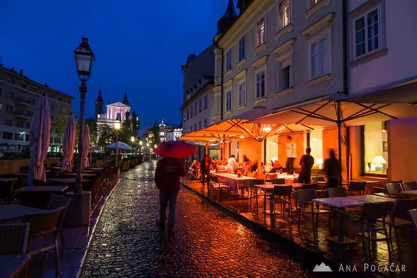 Ljubljana during rainy blue hour