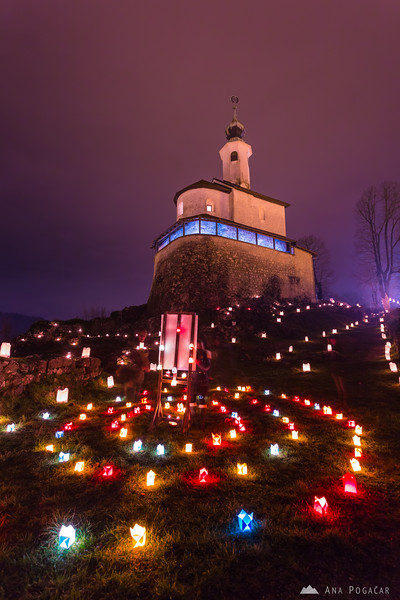 Lights around the Mali grad chapel in Kamnik at night