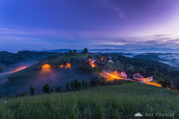 Mists around Tunjice after sunset