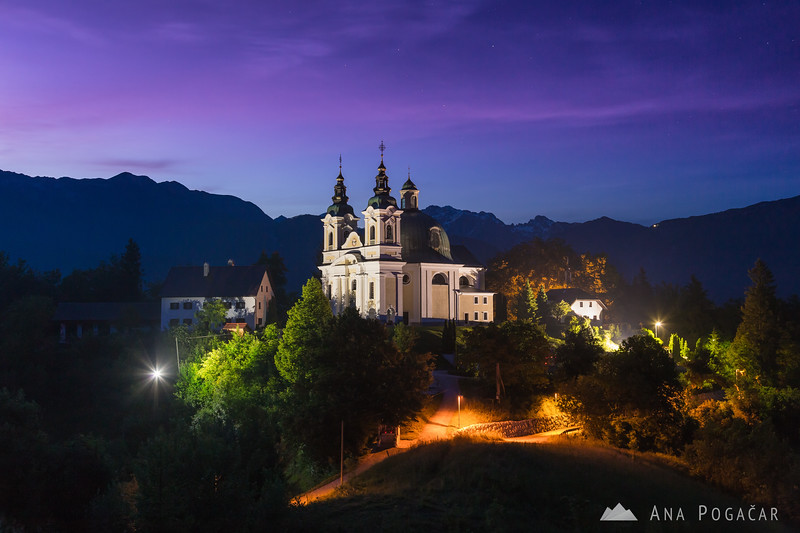 St. Ana church in Tunjice at dusk
