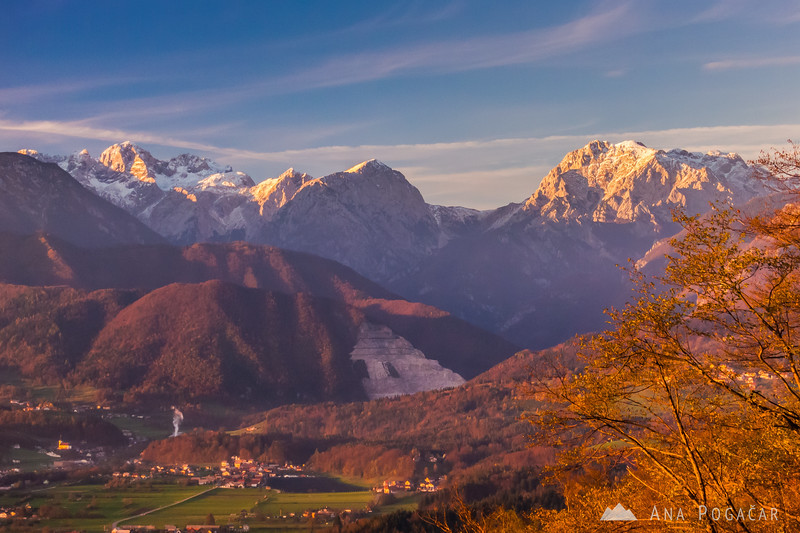 Kamnik Alps from Špica hill in the late afternoon
