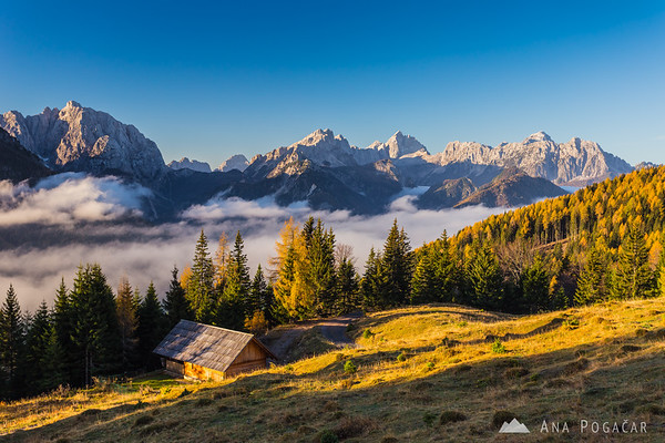 Morning mists from the hills above Kranjska Gora