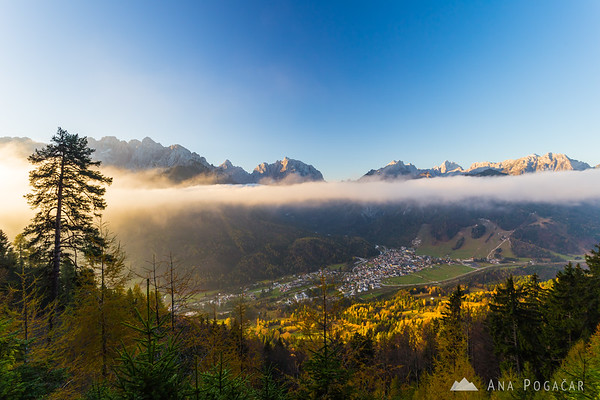 Morning mists from the hills above Kranjska Gora