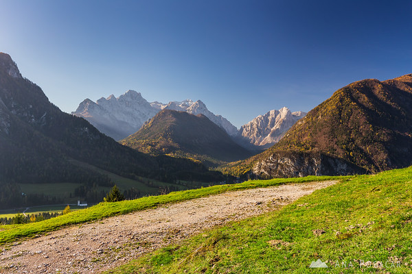 Looking towards the Vrata valley and Mt. Triglav from above Dovje