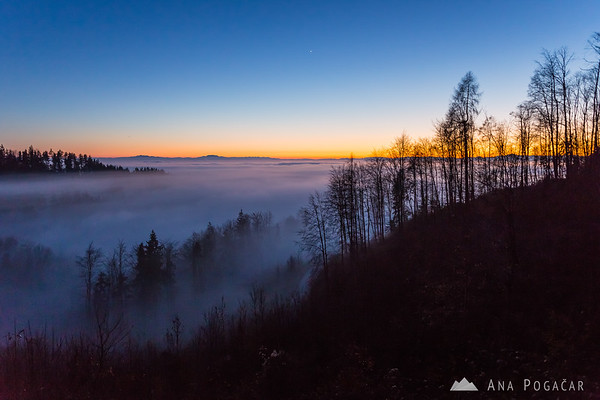 From Špica hill above the fog after sunset