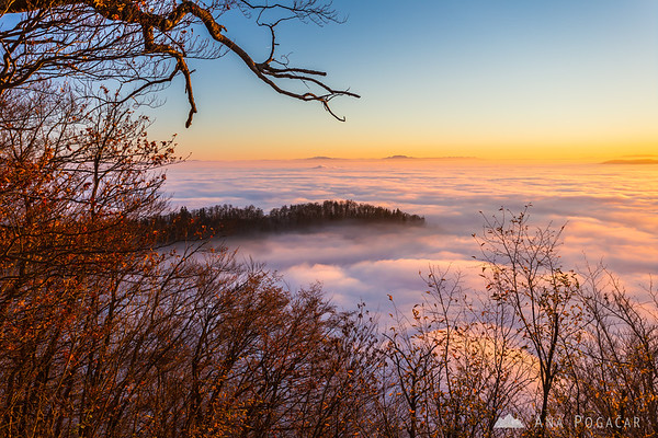 From Špica hill above the fog