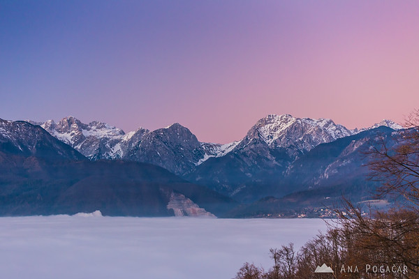 The Kamnik Alps from Špica hill above the fog after sunset
