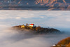 Stari grad as an island from Špica hill above the fog