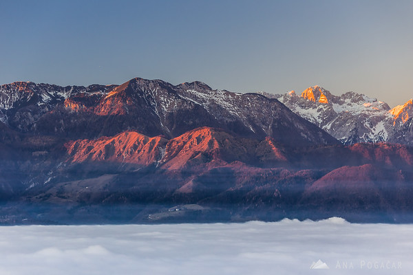 The Kamnik Alps from Špica hill above the fog