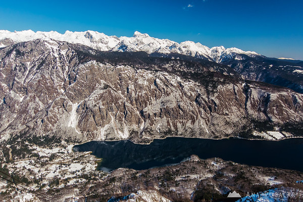 Lake Bohinj and Mt. Triglav in the background from Vogel cable car station