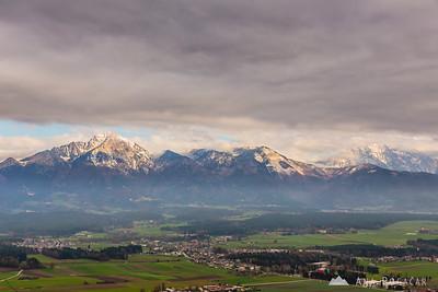 View from the Šmarjetna gora hill above Kranj towards the Kamnik Alps