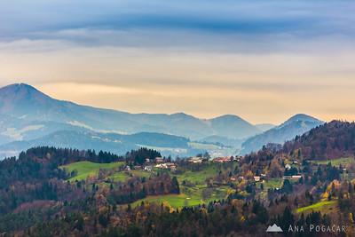 View from the Šmarjetna gora hill above Kranj
