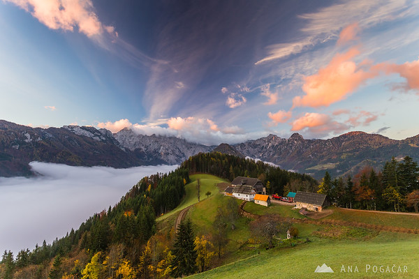 Logarska valley and the Kamnik Alps from the panoramic road at sunrise