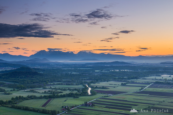 Before sunrise from St. Ana hill - the Kamnik Alps in the background