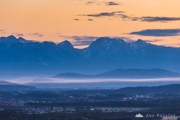 The Kamnik Alps from St. Ana hill before sunrise