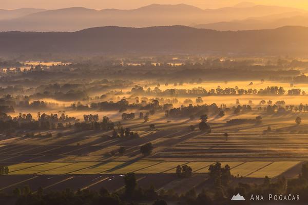 First sun rays over the Ljubljana Marshes (Ljubljansko barje)