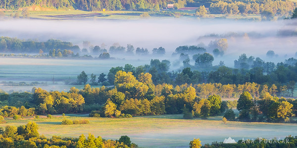 Morning mists over the Ljubljana Marshes (Ljubljansko barje) from St. Ana hill