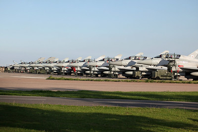29 Squadron Ramp with RSAF Tornados & Typhoons. Coningsby 27/8/13.