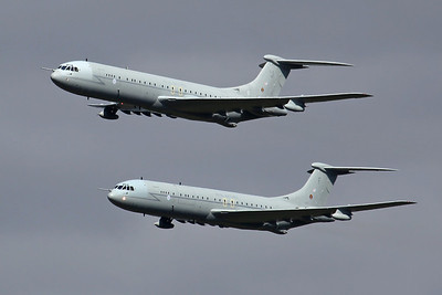 ZA147/F and ZA150/J 2X VC-10 K3 RAF 101Sq Tartan 52/51. Returning from the farewell VC-10 mission and UK Tour, on the final operational day in service. BZZ 20/9/13