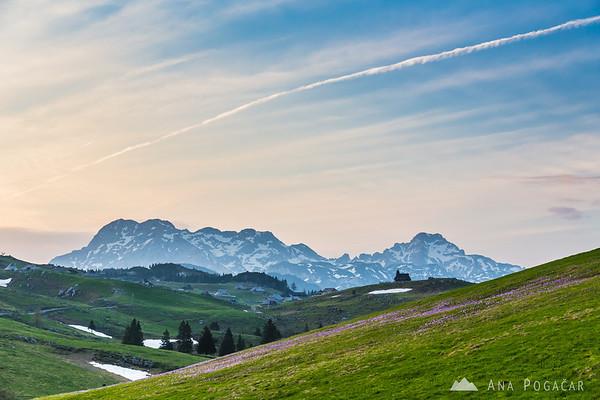 Looking towards the Kamnik Alps after sunset on Velika planina