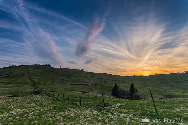 Just after sunset on Velika planina