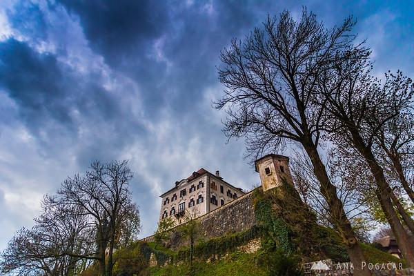 No sun, but a little drama in the sky. Zaprice Castle.