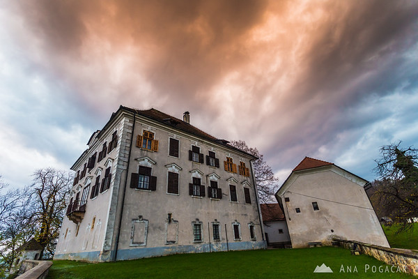 No sun, but a little drama in the sky. Zaprice Castle.