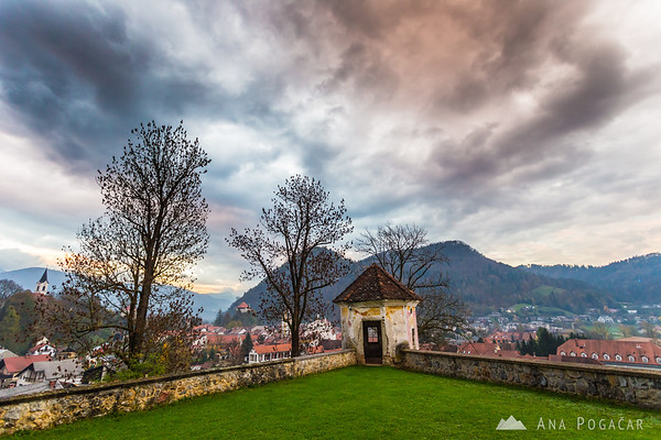 No sun, but a little drama in the sky. Kamnik from Zaprice Castle.