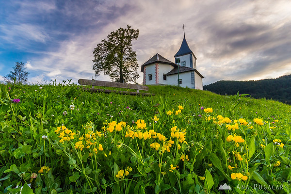 Church in Jamnik on a sunny spring afternoon