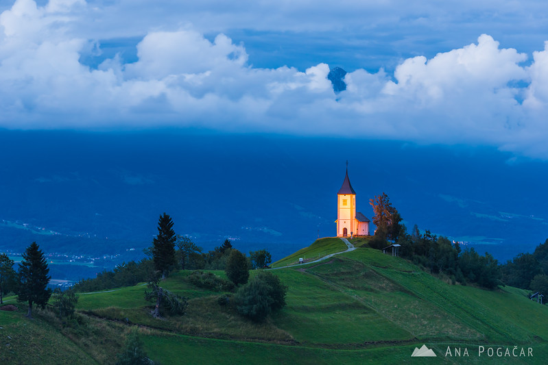 Church in Jamnik at dusk