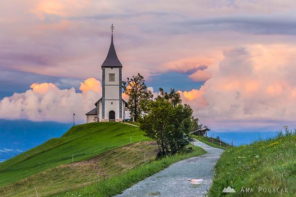 Church in Jamnik at sunset