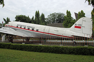 RI-001 DC-3 Indonesian Airways. On display at the 'Taman Mini Indonesia Indah' park.