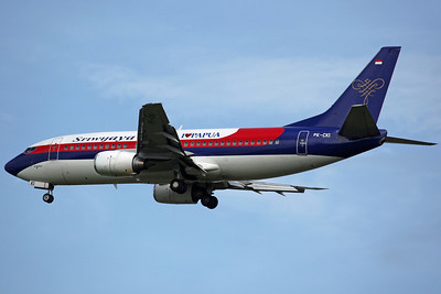 PK-CKI B737-300 Sriwijaya Air (with 'I Love Papua' logo)