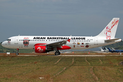 9M-AFE A320-200 Air Asia ('Asean Basketball League' logojet)