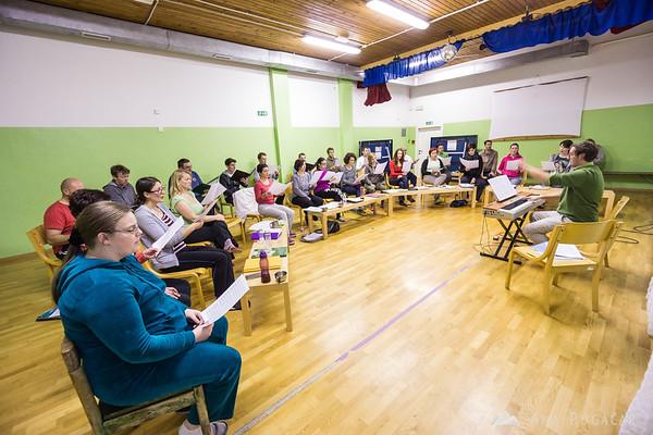 Our choir Cantemus at the vocal technique workshop in Vojsko led by Sebastjan Vrhovnik