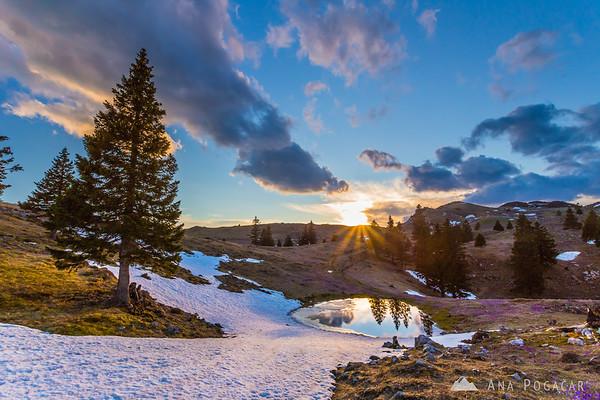 Sunset on Velika planina