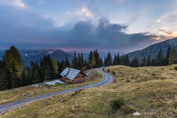 Sunset from the slopes above Kranjska Gora