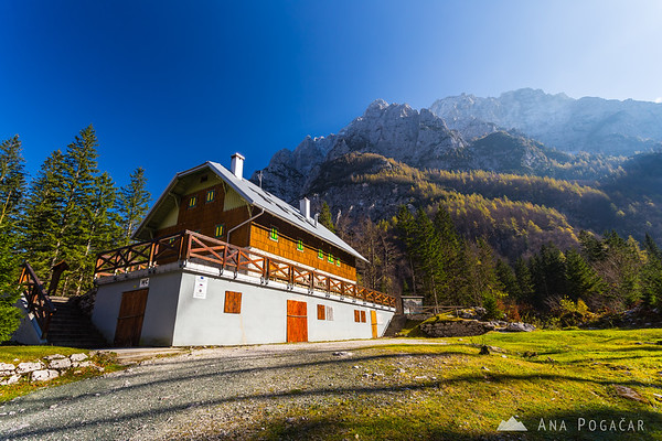 Aljažev dom hut in the Vrata valley
