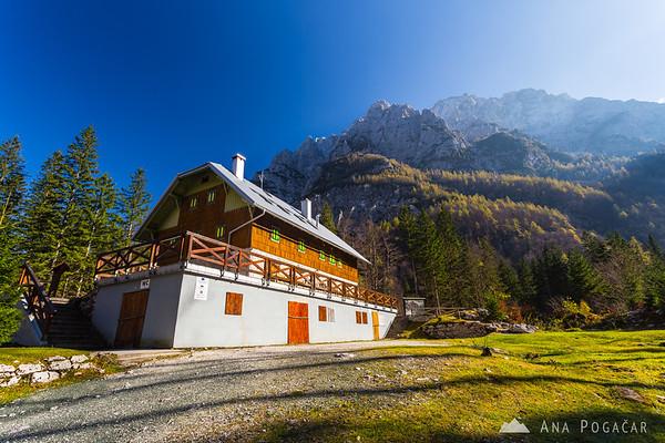 Aljažev dom hut in the Vrata valley