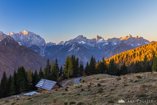 Sunrise from the hills above Kranjska Gora with views over the Julian Alps
