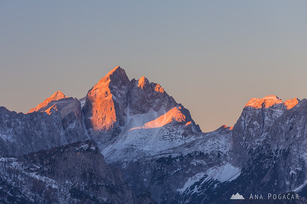 Sunrise from the hills above Kranjska Gora with views over Mt. Jalovec