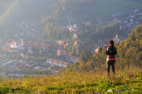 Hiker admiring the views of Old Kamnik.