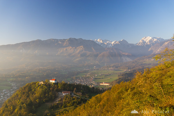 Stari grad and the Kamnik Alps.