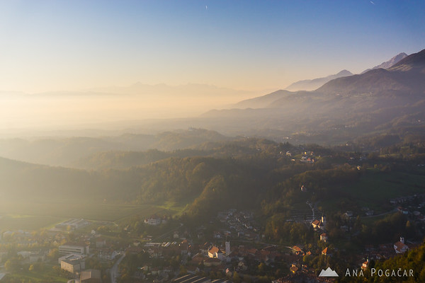 Looking west towards Kamnik, Tunjice and the Julian Alps in the far background.