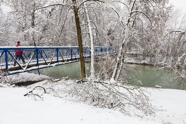 After the ice and snow storm in Kamnik: footbridge over the Kamniška Bistrica river