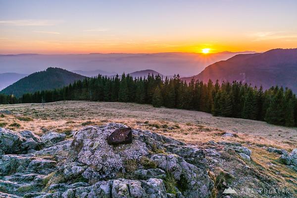Views from Kašna planina at sunset